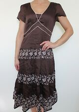 BNWT MONSOON chocolate linen & SILK mix floral embroidered dress size 12 RRP£90