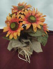 Orange Sunflower Centerpiece Faux Flower Floral Arrangement in Burlap Autumn
