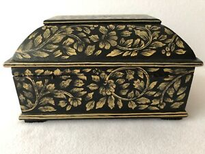 Decorative Handmade Wood Wooden Box Floral Design Jewelry Trinket Keepsake