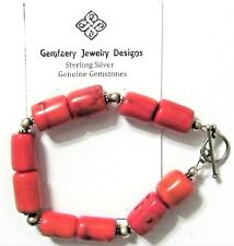 Sterling Silver Natural BAMBOO CORAL Gemstone Bead Bracelet #1471...Handmade USA