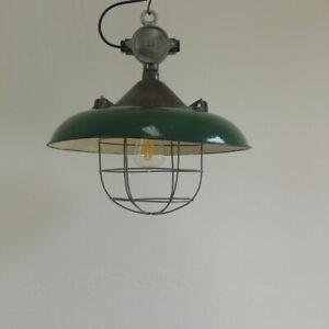Emaille Bunker Lampe Industrielampe Fabriklampe  Industrial Lamp Loft Design OKs