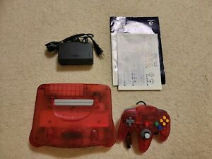 Clear Red Watermelon Funtastic N64 Console, Controller, and Manuals US Seller