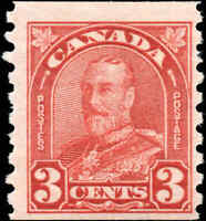 Mint Canada 1931 3c Coil F+ Scott #183 King George V Arch-Leaf Issue Hinged
