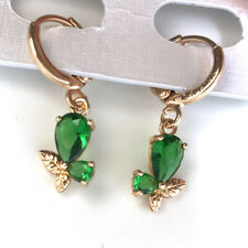 yellow gold filled teardrop green crystal butterfly drop Earrings women Jewelry