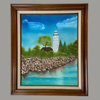 Custom Framed Signed Oil Painting - Seascape Lighthouse Gently Used