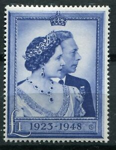 (949) VERY GOOD 1948 GVI £1 BLUE R.S.W. SG494 LIGHTLY MOUNTED MINT