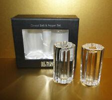 New in Box Oleg Cassini Heavy Crystal Salt and Pepper Set - Octagon Shape Signed