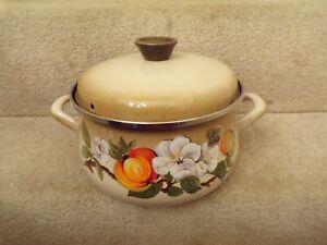 Collectable Vintage West German Baumann Enamel Cook Pot Floral Design Stove-top