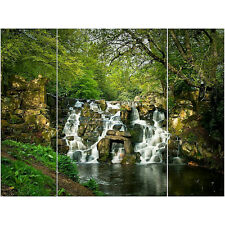 Set of 3 Triptych Canvas Wall Art Forest Waterfall Tree Nature Scene Home Decor