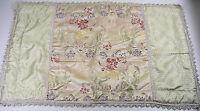 Pair of Floral King Pillow Shams Braided Trim Tan Burgundy 26 x 40 Calif King