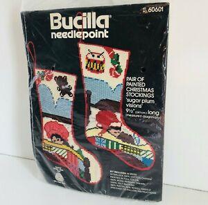 BUCILLA Vtg Christmas Stocking Needlepoint Kit #60601 Sugar Plum [New-Open Bag]