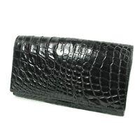 Black Genuine Crocodile Alligator Leather Skin Women Trifold Clutch Wallet Purse