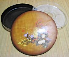 Vintage Japanese Lacquer Bento Box Removable Divided Tray 1960s Faux Bamboo NR