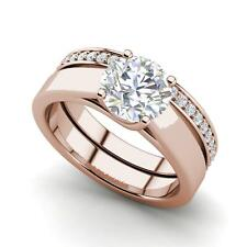 Cut Diamond Engagement Ring Rose Gold Channel Set 2 Carat Vs2/D Round