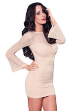 Flesh Pink Sheer Textured Mini Dress with Bell Sleeves