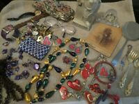 Vintage Junk Drawer Lot Clock, Jewelry, Sola, Glasses