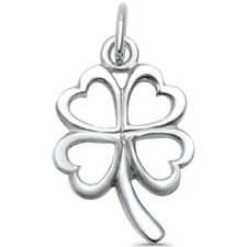 Plain Solid Four Leaf Clover Good Luck Charm .925 Sterling Silver Pendant