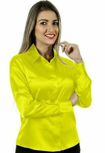 Women Satin Casual Office Shirt Button Down Solid Blouse Top - Flowercent Yellow
