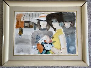 "Charles Levier 1970s WATERCOLOR Gouache Painting Art Large 44"" x 36"" Framed MOD"