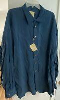 NEW STUBBS Men's Western Style RICH TEAL BLUE TENCEL 2XL XXL Shirt Metal BUTTONS
