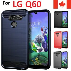 For LG Q60 Case - Carbon Fiber Soft TPU Heavy Duty Shockproof Armor Cover