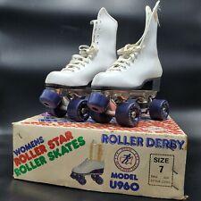 Vintage Roller Derby White Roller Skates Women Roller Star Size 7 with Box