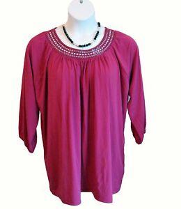 NEW EMBELLISHED TUNIC Shirt Plus Size 2X 22W 24W Top Dark Pink Beads Knit NWOT