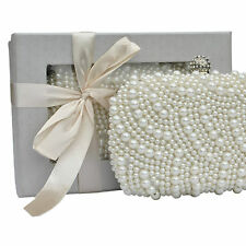 Ivory Satin Crystal Clutch Bag Wedding Prom Party Evening Ladies Handbag Purse