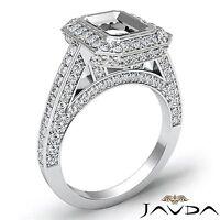 Halo Bezel Set Diamond Engagement 14k White Gold Emerald Semi Mount Ring 1.25Ct