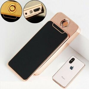 New Mini iPhone USB Rechargeable Electric Lighter Windproof Slim Gift Present