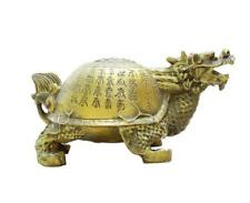 FengShui Chinese Pure Brass Copper 100 Shou Longevity Dragon Turtle Statue Big