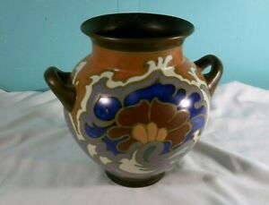 Vintage Gouda Art Nouveau 2 Handle Vase #922, Made In Holland
