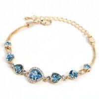Aquamarine Austrian Crystal Rhinestone Yellow Gold Plated Adjustable Bracelet