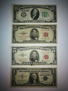 @@@@ USA lot $1 to $10 notes 1934 to 1976 including UNC uncirculated not PMG @@@
