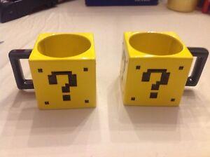 2 Thinkgeek Super Mario Brothers mystery box mugs ~ AKA question mark block coin