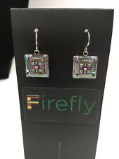 FIREFLY Multicolor Mosaic Square Drop Earrings - Silver Light Blue (E29)
