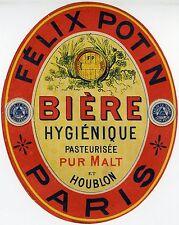 """""""BIERE HYGIENIQUE FELIX POTIN Paris"""" Etiquette-chromo originale fin 1800"""