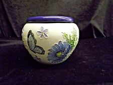 Hand painted African Violet Pot Blue Poppies & Butterflies