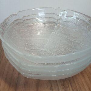 Arcoroc Aspen Leaf Glass Dish Bowl x 4 Vintage Mid Century 14 x 15 x 2.5cm
