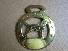"""Border Terrier"" Dog Breed Horse Brass Harness Bridle Medallion, 3-1/4""x4"""