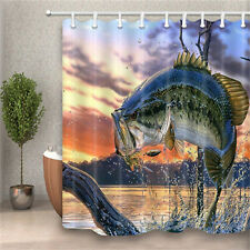 Funny Bass Fish With Hooks at River Bathroom Fabric Shower Curtain & 12 Hooks