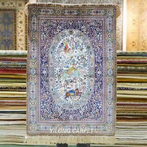 YILONG 2'x3' 500Line Purple Hunting Scene Tapestry Silk Carpet Area Rug 317H