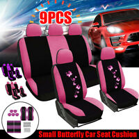 9 Pcs Universal Car Seat Covers Full Set Pink Fabric Washable Protector  t