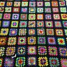 """VTG Afghan Crochet Granny Square 42""""x72"""" Blanket Handmade Throw Bed Couch Quilt"""
