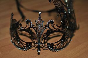 Venetian Style Black Metal Butterfly Mask Filigree Masquerade /prom ball mask.