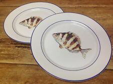 Williams Sonoma La Mer Fish Lacaze #D NEW 2 Dinner Plates Brown Sea Ocean Beach