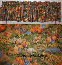 New Chickens Roosters Hen Farm Animals Pumpkins Sunflowers Valances Curtains