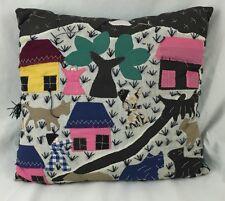 Handmade Throw Pillow Folk Art Cotton Appliqué Tapestry w/ Farm Life Scene.