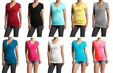 Cotton Spandex Plain Basic Short Sleeve V-Neck Tee Stretch Slim T-Shirts Top SML