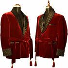Men Maroon Smoking Jackets Elegant Luxury Belted Designer Party Wear Blazer Coat